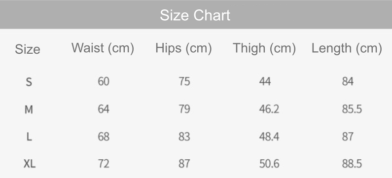 illusion leggings size chart