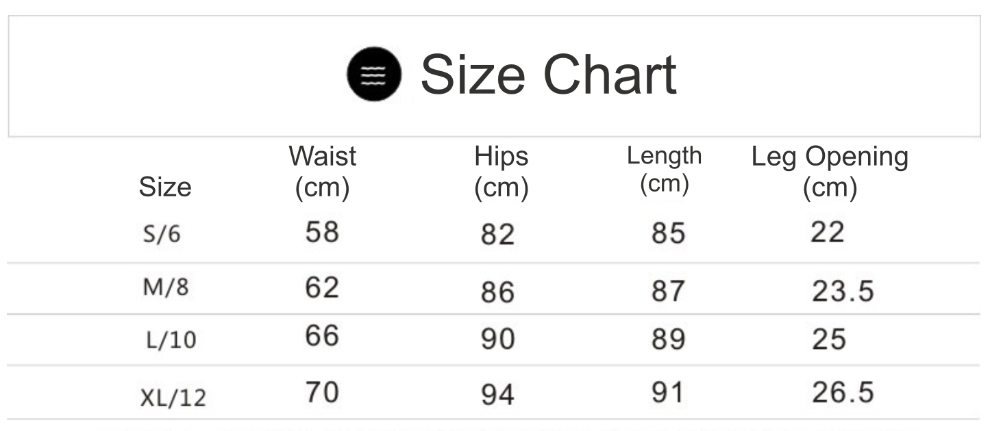 high waisted cropped sports pants size chart