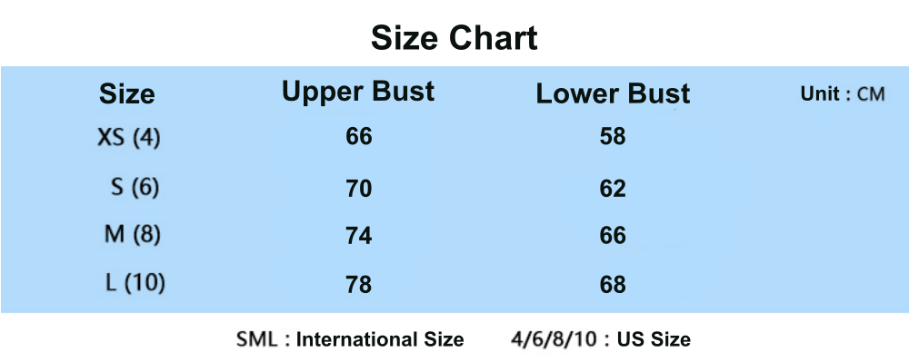 back twisted sports bra size chart