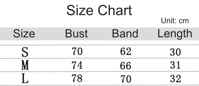 navy sports bra size chart
