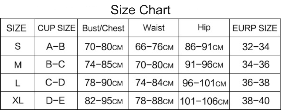ruffled one piece size chart