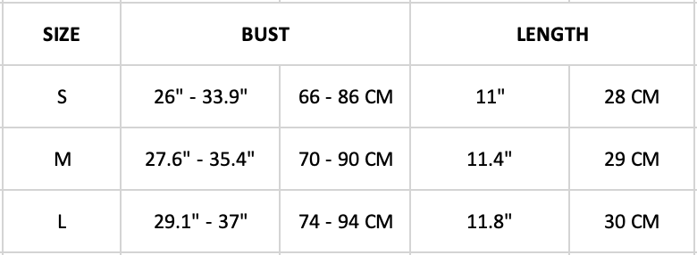 encapsulated sports bra size chart