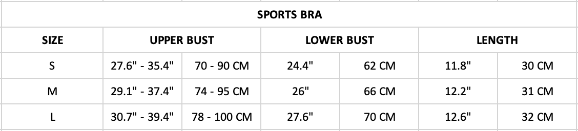 Hummingbird Solid & Striped Sports Set Size Chart