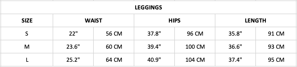 Hummingbird Ribbed Sports Set Size Chart