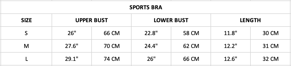 Hummingbird Contrast & Strap Sports Set Size Chart