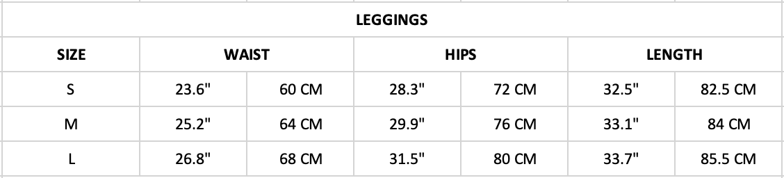 Hummingbird Contrast & Strap Leggings Size Chart