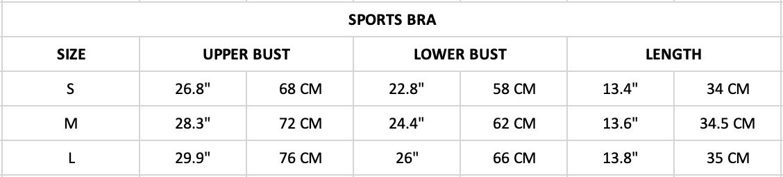 Hummingbird Mesh & Ribbon Sports Set Size Chart