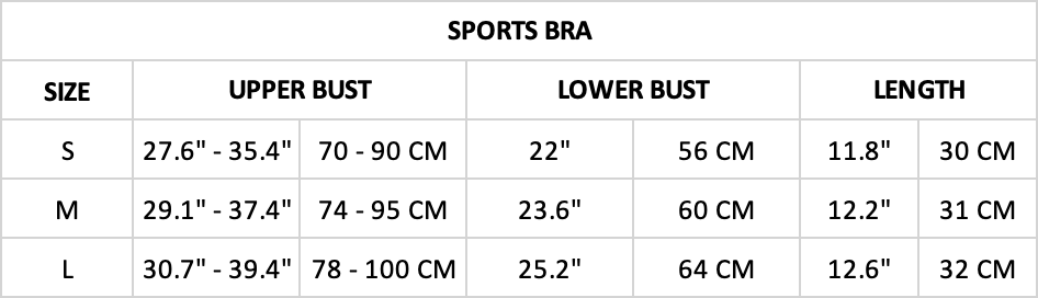 Hummingbird Ribbed Seamless Sports Bra Size Chart