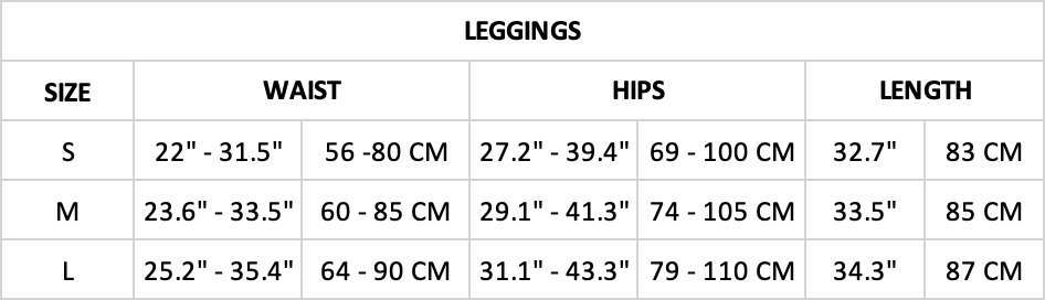 Hummingbird Ribbed Seamless High Waisted Leggings Size Chart
