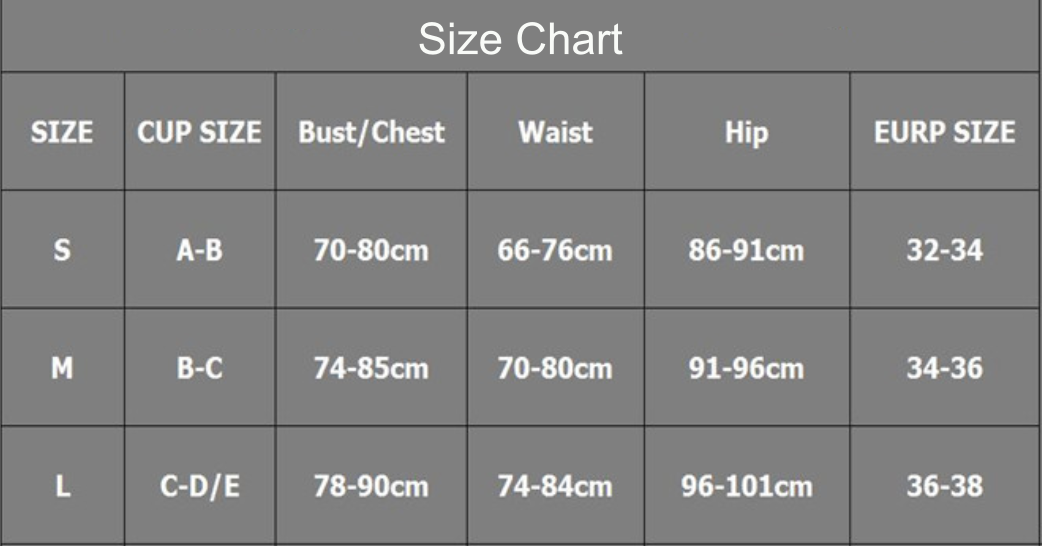 love bow one piece size chart