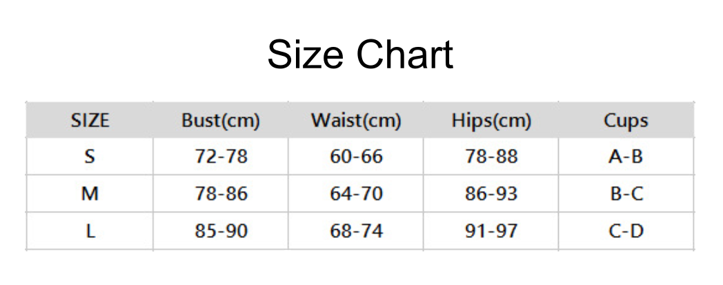 rainbow striped one piece size chart