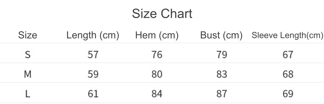 contrastive hoodie size chart