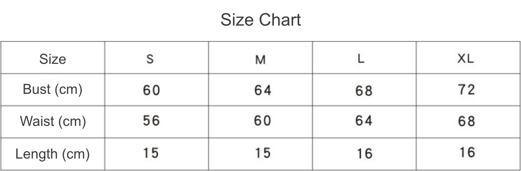 water drop padded tank top size chart