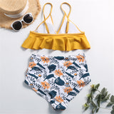 Floral Ruffled High Waisted Bikini Set