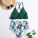 Hummingbird Floral Ruffled High Waisted Bikini Set