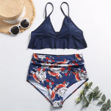 Load image into Gallery viewer, Hummingbird Floral Ruffled High Waisted Bikini Set