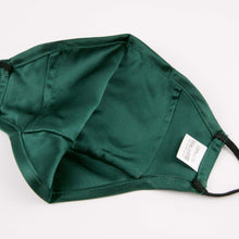 "Load image into Gallery viewer, Hummingbird Adjustable Vintage Mulberry Silk Face Mask - Green with a hidden pocket for removable filters. This 100% mulberry silk mask is skin friendly, breathable, smooth and soft. Unlike synthetic fabrics, natural silk does not cause allergies and discomfort to your skin. It helps retain moisture, maintains a healthy balance of skin water and oil, and prevents acne, or ""maskne"" breakouts. It's the most gentle mask for your delicate facial skin."