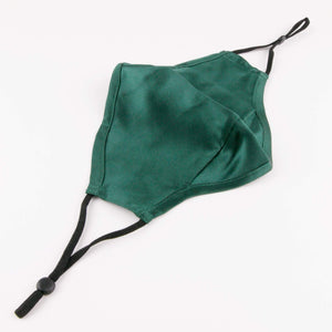 "Hummingbird Adjustable Vintage Mulberry Silk Face Mask - Green. This 100% mulberry silk mask is skin friendly, breathable, smooth and soft. Unlike synthetic fabrics, natural silk does not cause allergies and discomfort to your skin. It helps retain moisture, maintains a healthy balance of skin water and oil, and prevents acne, or ""maskne"" breakouts. It's the most gentle mask for your delicate facial skin."