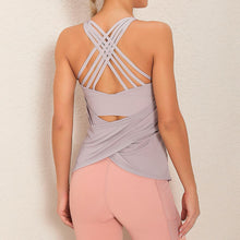 Load image into Gallery viewer, Demonstrate your back day effort with this 2 In 1 Crisscross Strappy Tank Top - Pastel Purple. Featuring scoop neckline, crisscross spaghetti straps and oblique hems overlapping at center back, this cute tank is a must-have for your active life. Flattering detailing on the back not only highlights your hard back day effort, but also accentuates body curves. This buttery soft vest is perfect for low impact workouts like weight training, yoga, cycling, spinning, dancing and more.