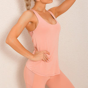 Demonstrate your back day effort with this 2 In 1 Crisscross Strappy Tank Top - Pastel Pink. Featuring scoop neckline, crisscross spaghetti straps and oblique hems overlapping at center back, this cute tank is a must-have for your active life. Flattering detailing on the back not only highlights your hard back day effort, but also accentuates body curves. This buttery soft vest is perfect for low impact workouts like weight training, yoga, cycling, spinning, dancing and more.