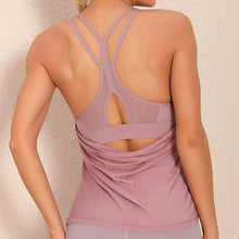 Load image into Gallery viewer, Demonstrate your back day effort with this 2 In 1 Halter Strappy Tank Top - Wine. This soft vest contains a formfitting sports bra and a breathable loose-fitting outer layer to facilitate your workouts. Featuring scoop neckline, spaghetti straps, center back cutout and scoop back hem, this flattering tank is a must-have for your active life. Delicate details on the back not only highlights your hard back day effort, but also accentuates body curves. Perfect for low impact exercise.