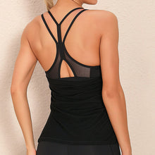 Load image into Gallery viewer, Demonstrate your back day effort with this 2 In 1 Halter Strappy Tank Top - Black. This soft vest contains a formfitting sports bra and a breathable loose-fitting outer layer to facilitate your workouts. Featuring scoop neckline, spaghetti straps, center back cutout and scoop back hem, this flattering tank is a must-have for your active life. Delicate details on the back not only highlights your hard back day effort, but also accentuates body curves. Perfect for low impact exercise.