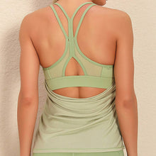 Load image into Gallery viewer, Demonstrate your back day effort with this 2 In 1 Halter Strappy Tank Top - Lime. This soft vest contains a formfitting sports bra and a breathable loose-fitting outer layer to facilitate your workouts. Featuring scoop neckline, spaghetti straps, center back cutout and scoop back hem, this flattering tank is a must-have for your active life. Delicate details on the back not only highlights your hard back day effort, but also accentuates body curves. Perfect for low impact exercise.