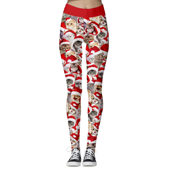 Add a seasonal style to your wardrobe and enjoy a merry Christmas with these Cute Animal Print Christmas Leggings - Santa Cats. Featuring adorable prints from Santa cats to reindeer, mid-rise fit and elastic waistband, these Cute Animal Print Christmas Leggings can be worn on occasions from lounging, family gathering to workouts. Digital printing technology keeps the patterns intact after wear and tear. Made of moisture-wicking, quick drying and stretchy fabric.