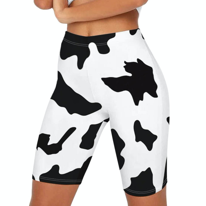Make a Statement with These Gym-to-Street Cow Print High-Rise Biker Shorts Biker shorts are here to stay. Featuring cute moo digital print and mid-thigh length, these Cow Print Biker Shorts can be worn on occasions from street to gym workout like spinning and dancing. Complete the look with a sports bra for the gym, or a crop top with an oversized sweatshirt for an athletic street style. Made of moisture-wicking and stretchy fabric.
