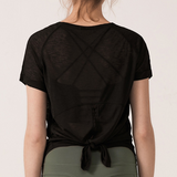 Hummingbird Back Lace Short Sleeve Shirt that can be worn two ways and made of semi-transparent fast dry and wicking fabric