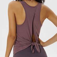 Load image into Gallery viewer, Hummingbird Back Lace Tank Top has two ways to wear and made of peached fabric which is smooth, breathable and sweat absorbent