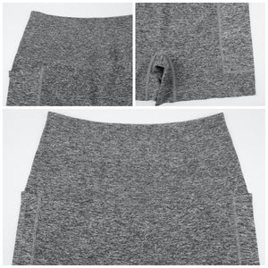 Hummingbird High Waisted Biker Shorts with Pockets (Grey) for essentials. Squat proof and not see-through.