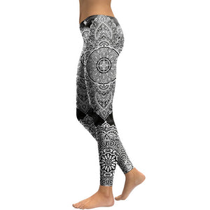 Hummingbird Bohemian Flower Mandala Print Leggings - Black & White