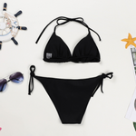 Hummingbird Bohemian Crochet Black Triangle Bikini Set