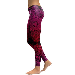 Hummingbird Bohemian Flower Mandala Print Leggings - Black & Burgundy