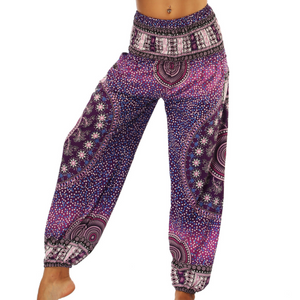 Hummingbird Circle Mandala Print Loose Yoga Pants, made of fast dry, soft and breathable material, perfect for meditation, dancing, yoga, summer vacation and street wear