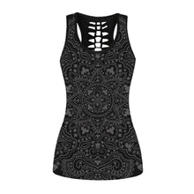 Load image into Gallery viewer, Hummingbird Bohemian Mandala Braided Cutout Racerback Tank Top - Front