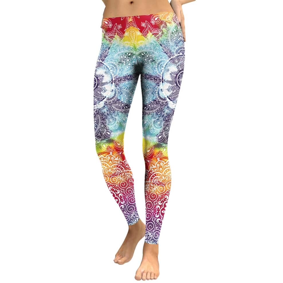 Hummingbird Bohemian Multicolored Leggings - Front