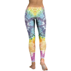 Hummingbird Bohemian Multicolored Leggings - Back