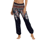Hummingbird Bohemian Smocked Waist Loose Yoga Pants (2 colors)