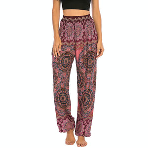 Empower your energy flow and blood circulation during yoga practice with these Bohemian Geometric Circle Mandala Yoga Harem Pants - Burgundy. Featuring circle and geometric mandalas, these loose fitting yoga pants are the must-have companion for your yoga journey, be it for asanas, pranayama, or meditation. With high rise smocked waist and elastic ankles, these loose yoga pants can be adjusted to different styles. Handmade by Thai people with natural plant dye techniques. Also perfect for holiday travel.