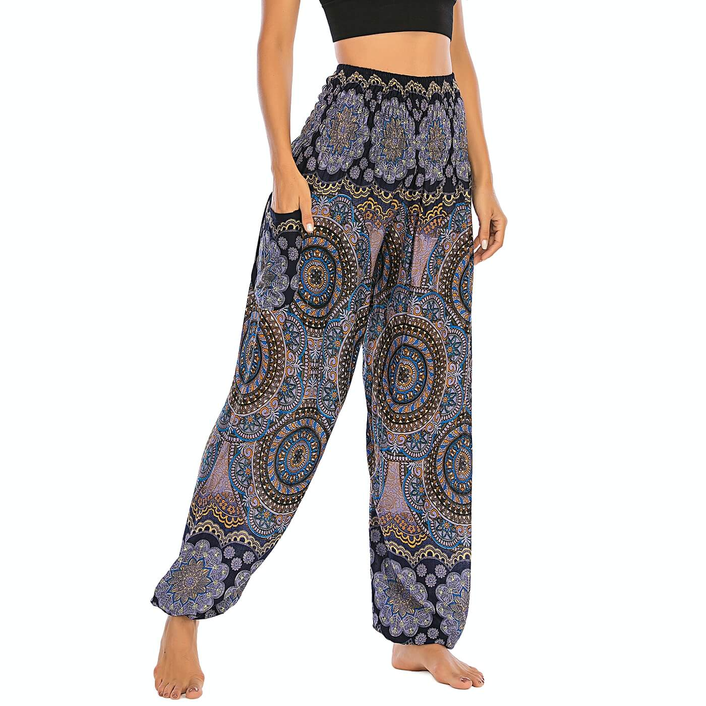 Empower your energy flow and blood circulation during yoga practice with these Bohemian Geometric Circle Mandala Yoga Harem Pants - Cornflower. Featuring circle and geometric mandalas, these loose fitting yoga pants are the must-have companion for your yoga journey, be it for asanas, pranayama, or meditation. With high rise smocked waist and elastic ankles, these loose yoga pants can be adjusted to different styles. Handmade by Thai people with natural plant dye techniques. Also perfect for holiday travel.