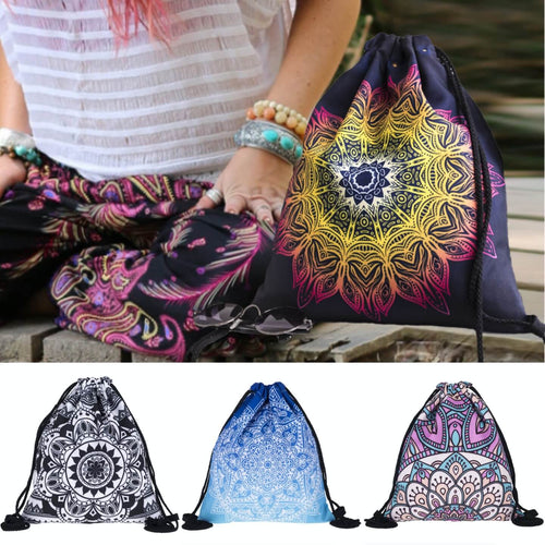 Hummingbird Bohemian Drawstring Gym Bag (4 Patterns). A women wearing bohemian yoga pants and having a Boho Gym Bag by her side.