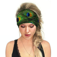 Load image into Gallery viewer, Hummingbird Bohemian Printed Multifunctional Headband - Peacock offers a secure fit to hold your hair back, and along with moisture-wicking fabric, allows you to stay fresh and focused on your workout. Perfect for all sorts of workout activities. Also suitable for daily wear as a hair band, head wrap, bandana, face cover, morning makeup and nighttime moisturizing.
