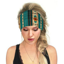 Load image into Gallery viewer, Hummingbird Bohemian Printed Multifunctional Headband - Geometric A offers a secure fit to hold your hair back, and along with moisture-wicking fabric, allows you to stay fresh and focused on your workout. Perfect for all sorts of workout activities. Also suitable for daily wear as a hair band, head wrap, bandana, face cover, morning makeup and nighttime moisturizing.
