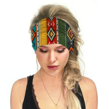 Load image into Gallery viewer, Hummingbird Bohemian Printed Multifunctional Headband - Geometric B offers a secure fit to hold your hair back, and along with moisture-wicking fabric, allows you to stay fresh and focused on your workout. Perfect for all sorts of workout activities. Also suitable for daily wear as a hair band, head wrap, bandana, face cover, morning makeup and nighttime moisturizing.