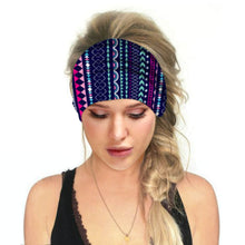 Load image into Gallery viewer, Hummingbird Bohemian Printed Multifunctional Headband - Geometric C offers a secure fit to hold your hair back, and along with moisture-wicking fabric, allows you to stay fresh and focused on your workout. Perfect for all sorts of workout activities. Also suitable for daily wear as a hair band, head wrap, bandana, face cover, morning makeup and nighttime moisturizing.