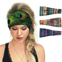 Load image into Gallery viewer, Hummingbird Bohemian Printed Multifunctional Headband (4 Patterns) offers a secure fit to hold your hair back, and along with moisture-wicking fabric, allows you to stay fresh and focused on your workout. Perfect for all sorts of workout activities. Also suitable for daily wear as a hair band, head wrap, bandana, face cover, morning makeup and nighttime moisturizing.