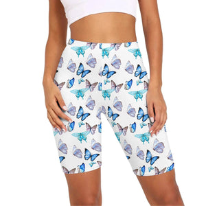 Biker shorts are here to stay. Featuring multi-colored butterfly print, high waisted fit and mid-thigh length, these Butterfly Print Biker Shorts can be worn on occasions from street to gym workout like spinning and dancing. Digital printing technology keeps the patterns intact after wear and tear. Complete the look with a sports bra, or a crop top with an oversized sweatshirt for an athletic street style. Made of moisture-wicking and stretchy fabric.