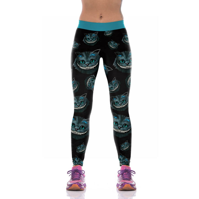Cheshire cat is a fictional cat featured in Alice's Adventures in Wonderland and has since gained popularity with its distinctive mischievous grin. These Hummingbird Cheshire Cat Print Leggings are made of soft, breathable and high elastic fabric.  These Cheshire Cat Print Leggings belong to our Halloween Specials collection.